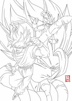 Fusion Lineart by SnaKou on DeviantArt Manga Coloring Book, Coloring Pages For Boys, Coloring Book Pages, Dbz Drawings, Iron Man Art, Manga Dragon, Superhero Coloring, Ball Drawing, Drawing Reference