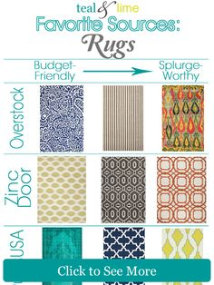 My 15 Top Online Sources for Area Rugs | tealandlime.com -- over 40 sources for all sorts of home decor and furniture!
