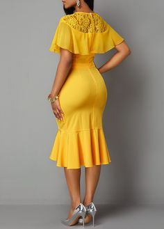 Lace Patchwork Back Zipper Ruffle Trim Dress Plus Size Fashion Dresses, Stylish Dresses, Casual Dresses, African Wear Dresses, Latest African Fashion Dresses, Lace Dress Styles, Classy Work Outfits, Bodycon Dress With Sleeves, Chic Dress