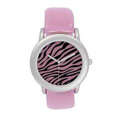 Glittered Pink Zebra Print Wrist Watches by elenaind (Elena Indolfi) from #Zazzle