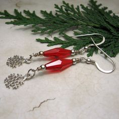 Christmas Earrings Sterling Silver Red by StoneDesignsbySheila