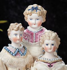 German Bisque Lady Dolls With Sculpted Hair And Very Elaborate Dresden Bodices. Lots 54, 55 and 56.