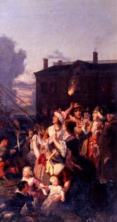 1776- Rebellious North American colonists burn the coat of arms of George III in Boston Commons.