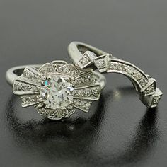 Diamond engagement ring and custom-made wedding band set. TDF!!! #ring #wedding #engagement