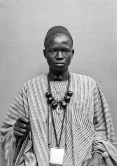 """Africa   """"Sénégalais"""".  Studio portrait.   Photograph by Prince Roland Bonaparte, for the 'Exposition Universelle, Paris, 1889'"""