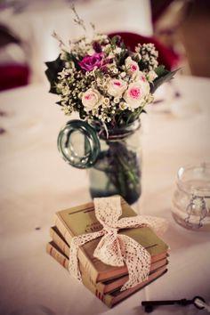 Wedding floral decoration idea with vintage jar - wedding sweet table - wedding photography by Elisabeth Perotin