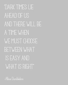 Dark times lie ahead of us & there will be a time when we must choose between what is easy & what is right