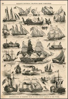 "Sails of the Past ~ Page from the Monthly Magazine ""Ballou's Pictorial Drawing Room Companion"" c. 1860 ...."