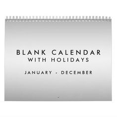 Silver Blank Calendar With Holidays Jan - Dec
