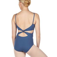 capezio twist back leotard in storm blue