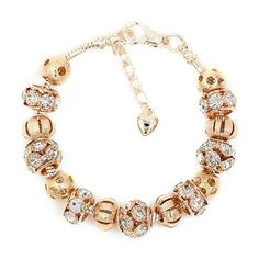 New Arrival Love 18Ok Gold Plated Bead Appeal Bracelet With Crystal Girls DIY Match Bracelets & Bangles Positive Jewellery YWSL018 - Silver Jewellery 925 - SHOP NOW