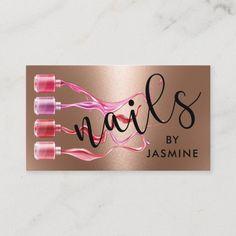 Modern Nails Rose Gold Foil Business Card Foil Business Cards, Salon Business Cards, Modern Business Cards, Business Card Design, Business Supplies, Nail Salon Design, Nail Salon Decor, Nail Salon Names, Nail Logo