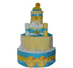 Baby Diaper Cakes Rubber Ducky Baby Shower by BottomBabyCakes