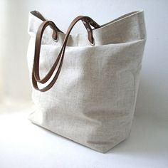 ♥linen tote bag with leather handles♥