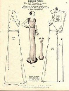 Free Vintage Evening Frock Dress Sewing Draft Pattern