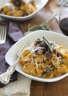 Creamy Butternut Squash Pasta with Sage Mushrooms   runningtothekitchen.com