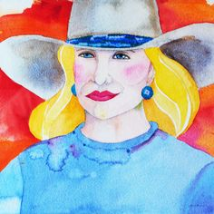 Wyoming artist Linda Lucy Lunde  Framed watercolor, 'Blonde Cowgirl'  Linda Lunde's western artwatercolor portrait of a blonde cowgirl showcases hersignature style; broad swathes of color with highlight and shadow.  luckystargallery.com $350