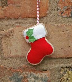 Handmade Felt Christmas stocking ornament от TillysHangout на Etsy