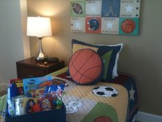 Decorated especially for your little sports fan. He'll love his new room and won't want to leave!