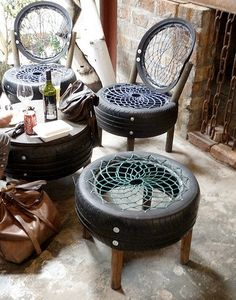 dream catcher tire chairs. Would be cool for a festival or camp chairs with the tire table in the middle.