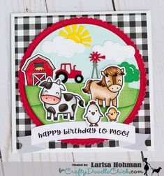 Crafty Corner: Crafty Doodle Chick - Lawn Fawn - Hay There Farm Animal Birthday, Horse Cards, Tiddly Inks, Karten Diy, Lawn Fawn Stamps, Cricut Cards, Farm Yard, Animal Cards, Handmade Birthday Cards