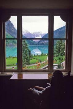 20 Breathtaking Window Views - Lake Louise through window. Canada by janine