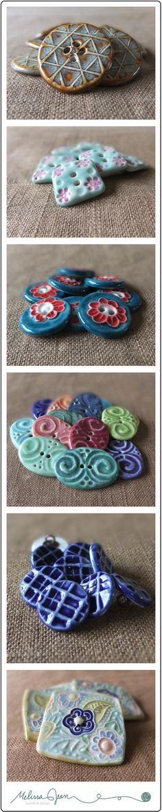 Gorgeous handmade buttons by Melissa Jean Handknit Design