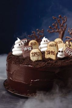 Bury those chocolate cravings for good with this rich layer cake that's spooktacular for Halloween—and (minus the graveyard) a sensational choice year-round with an espresso-tinged batter and bittersweet chocolate frosting. Get the recipe.