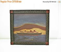 Moving Sale Normandie Ship Painting Outsider Naive by BeeJayKay