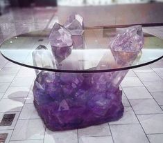 Isn't this amethyst table simply amazing! Can you imagine the rainbows in this beauty? Tag someone who needs this table in their lives 💜🔮🌙 Crystals In The Home, Large Crystals, Crystals And Gemstones, Stones And Crystals, Crystal Furniture, Crystal Decor, Crystal Design, Home And Deco, My Room