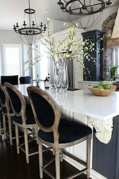 Love these wood framed counter height kitchen barstools - House of Silver Lining
