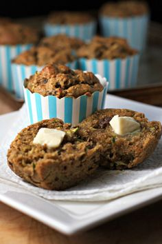 Raisin Spice Zucchini Muffins Recipe plus 24 more of the best gluten-free chickpea flour recipes Zucchini Muffins, Zucchini Muffin Recipes, Vegan Muffins, Gluten Free Muffins, Gluten Free Baking, Vegan Baking, Vegan Gluten Free, Zucchini Banana, Gluten Free Breakfasts
