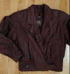 Women's Leather Bomber Jacket ADVENTURE BOUND Size XSmall Chocolate Brown Crop