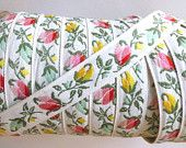 Vintage Jacquard Fabric Trim Ribbon  ~ Ivory with Pink, Yellow and Green Tulips ~ 1930's ~ 1 Yard ~ 3/4 inch wide ~ Baby, Dolls, Upholstry