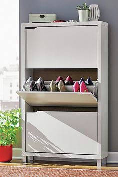 With a space-saving design and packed with clutter cutting storage solutions, this 3 drawer shoe cabinet helps you keep your home neat and tidy year round. Bring harmony to your mudroom or master suite walk-in with this essential shoe cabinet, showcasing 3 drawers with space for 18 pairs of pumps and flats. Pairing eye-catching design with essential storage, this cabinet creates ample organizational options in even the messiest rooms. Let it stow flip flops, sneakers. flats, heels and more.