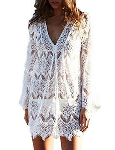 Women Sexy V Neck Lace Hollow Out Bikini Cover Up Beachwe... https://www.amazon.com/dp/B01J16P7NS/ref=cm_sw_r_pi_dp_x_80zfybJTWVWXM