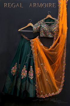 Green lehenga choli with orange dupatta party wear dress bollywood dress indian dress custom stiched dress for womens. Indian Lehenga, Green Lehenga, Indian Gowns, Indian Attire, Indian Outfits, Silk Lehenga, Black Lehenga, Emo Outfits, Lehenga Choli Designs