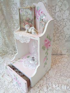 ROMANTIC SHELF w SECRET DRAWER hp roses chic shabby vintage cottage hand painted #VINTAGE