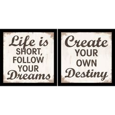 2 Piece Destiny & Dreams Framed Print Set