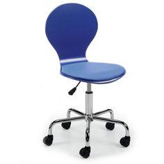 Silla oficina Jazz azul con ruedas y altura regulable. Madera contrachapada y asiento acolchado en polipiel. Pie giratorio metálico cromado.