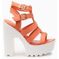 CiCiHot Peach Faux Leather Multi Strap Lug Sole Heels ($43) ❤ liked on Polyvore featuring shoes, platform shoes, lug-sole shoes, vegan leather shoes, peach shoes y vegan shoes