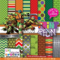 Teenage Mutant Ninja Turtles Digital Paper Patterns and FREE Clip art - Digital Papers and more!