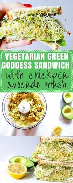 Vegetarian Green Goddess Sandwich with Chickpea Avocado Mash, Goat Cheese, and Pesto Mayo via @Ally's Cooking