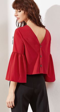 Red Bell Sleeve Buttoned V Back Top