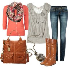 """peach and brown"" by sandreamarie on Polyvore"