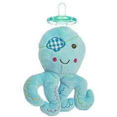 Baby Small Blue Stuffed Pacifier Octopus Adorable Aqua Green Red Plush Toy Soft Cuddly Eye Patch Animal Ocean Fish Cute Comfy Fuzzy Bedtime Plastic