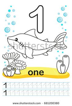 Coloring printable worksheet for kindergarten and preschool. We train to write numbers. Bright figures on a marine background with cute marine life. Numbers Preschool, Preschool At Home, Learning Numbers, Letter Worksheets, Kindergarten Worksheets, Printable Worksheets, Colouring Pages, Coloring Books, Montessori Activities