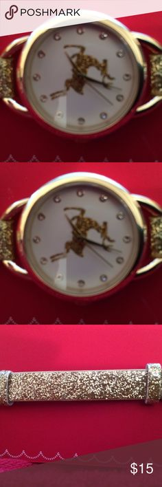 "CHRISTMAS SPARKLE WATCH NEW IN PACKAGE FROM MACY'S CUTE GOLD SPARKLE WATCH FROM MACY'S .  JUST ABOUT 9"" END TO END Macy's Accessories Watches"