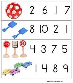 Asociar número a cantidad. Para ficha en mesa o para recortar y señalar con pinza