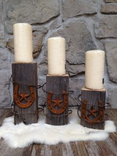 Western candle holders - set of 3 by arustictouch on Etsy